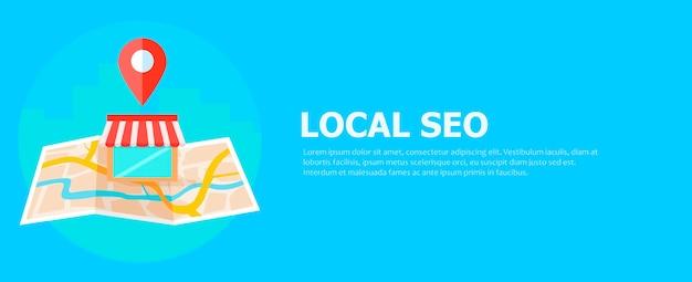 Banner local de seo, mapa y tienda en vista realista. vector gratuito