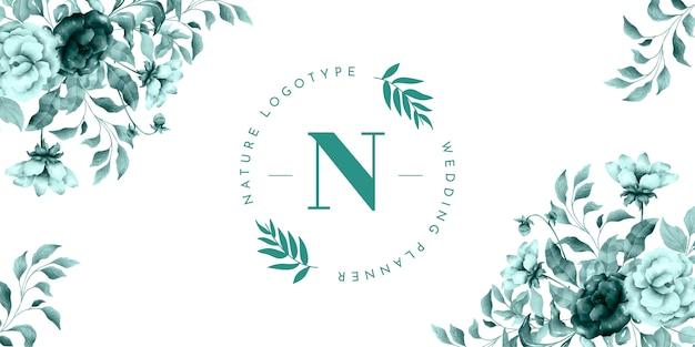 Banner de logo de naturaleza con flores vintage vector gratuito