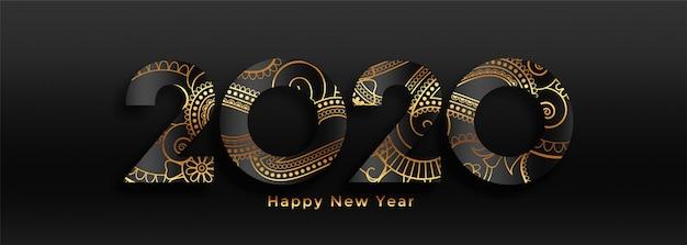 Banner de lujo 2020 feliz año nuevo negro y oro vector gratuito