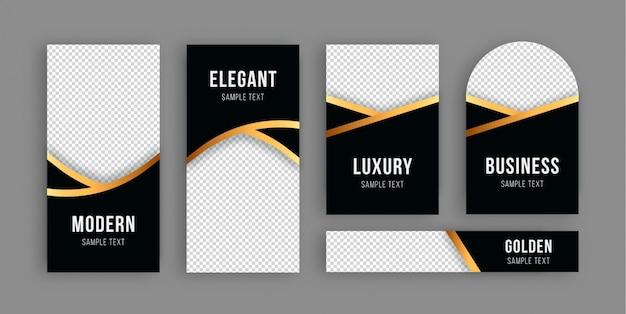 Banner de lujo dorado colección vector gratuito