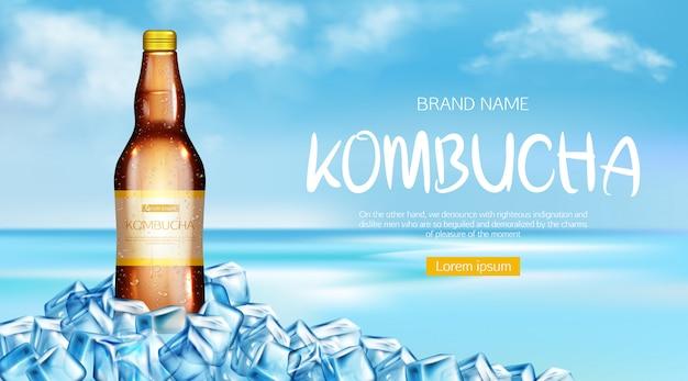 Banner de maqueta de botella de kombucha vector gratuito