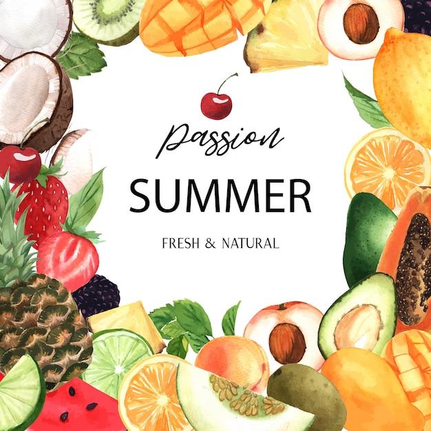 Banner de marco de frutas tropicales con texto, maracuyá con kiwi, piña, patrón frutal vector gratuito