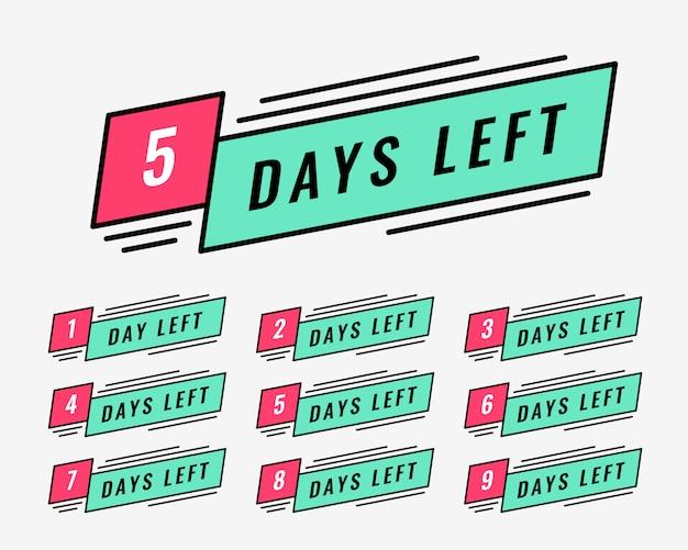 Banner de marketing del número de días restantes. vector gratuito