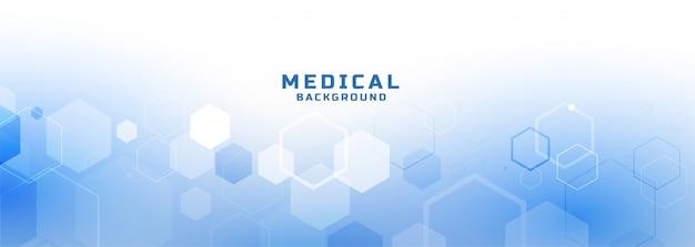 Banner médico y sanitario de estilo hexagonal. vector gratuito