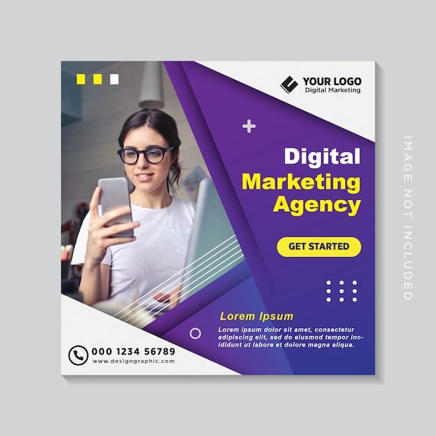 Banner de medios sociales de marketing de negocios digitales o folleto cuadrado Vector Premium