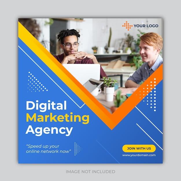 Banner de medios sociales de marketing de negocios digitales Vector Premium