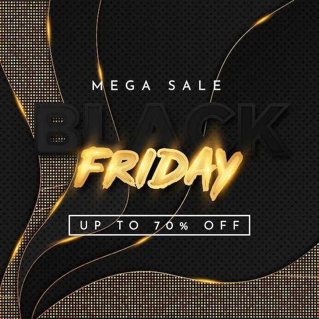 Banner de mega venta de viernes negro con ondas doradas y efecto de texto dorado vector gratuito