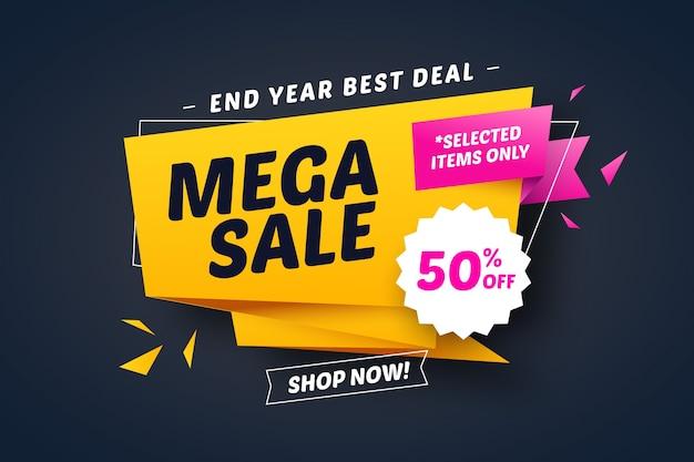Banner de mejor oferta de ventas en estilo origami con cintas Vector Premium