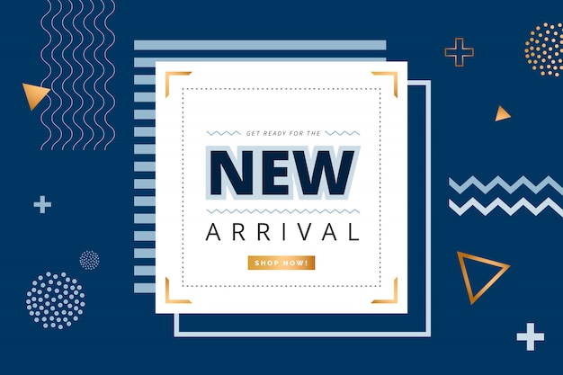 Banner minimalista de nueva llegada con formas geométricas Vector Premium