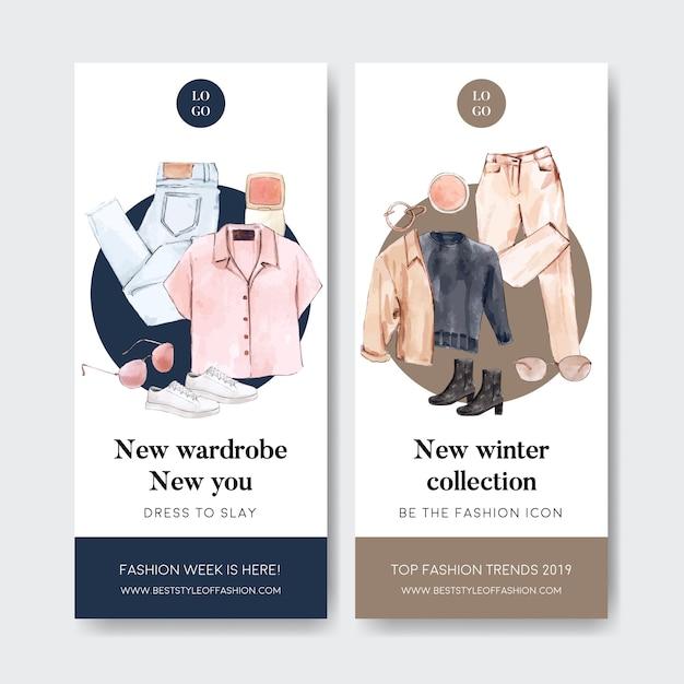 Banner de moda con camisa, pantalón, zapatos, gafas de sol vector gratuito
