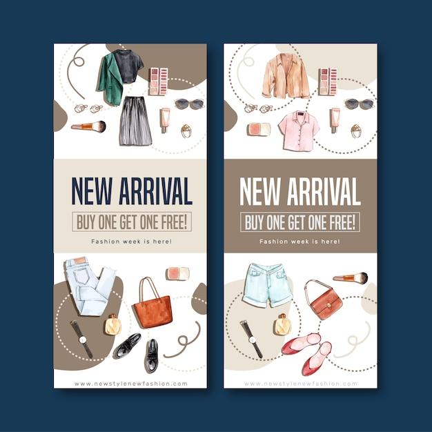 Banner de moda con cosméticos, ropa, accesorios. vector gratuito