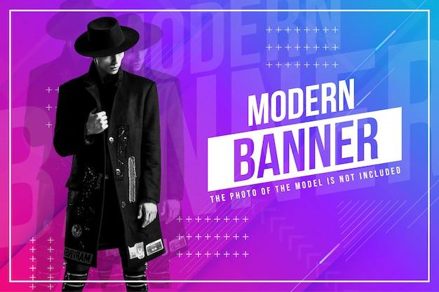 Banner de moda moderna con fondo abstracto vector gratuito