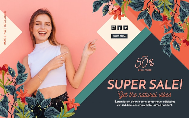 Banner de moda de promoción vector gratuito
