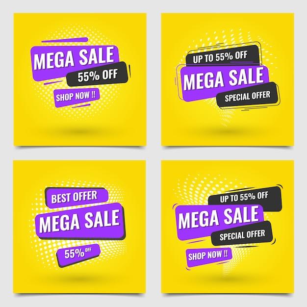 Banner moderno mega venta amarillo púrpura oscuro conjunto Vector Premium