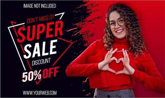 Banner moderno de súper venta con pincel rojo vector gratuito