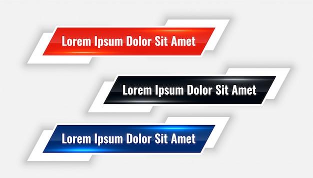 Banner moderno de tercios inferiores en tres colores vector gratuito