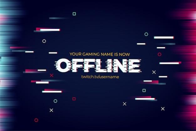 Banner moderno de twitch con plantilla de efecto de texto de falla vector gratuito