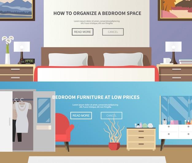 Banner de muebles de dormitorio vector gratuito