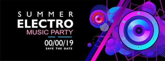 Banner de música electro de verano para fiesta, evento y concierto. con forma colorida sobre fondo negro. Vector Premium