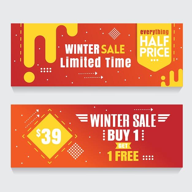 Banner naranja fondo abstracto venta flash Vector Premium