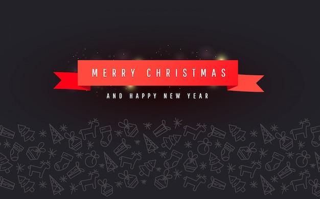 Banner de navidad y año nuevo con cinta roja, adorno de línea de navidad sobre fondo oscuro Vector Premium