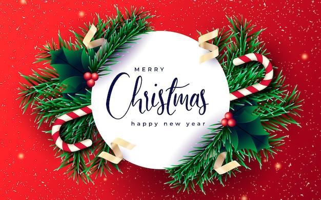 Banner de navidad realista con ramas y fondo rojo. vector gratuito