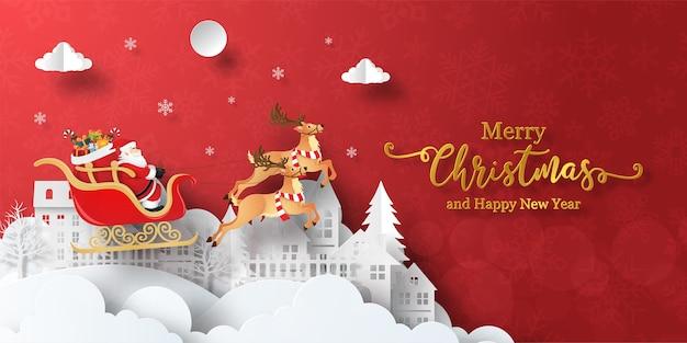 Banner de navidad de santa claus en un trineo en el pueblo Vector Premium