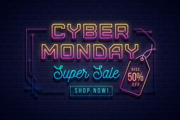 Banner de neón cyber monday vector gratuito