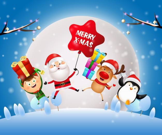 Banner de noche de navidad con santa claus, duende en suelo azul vector gratuito