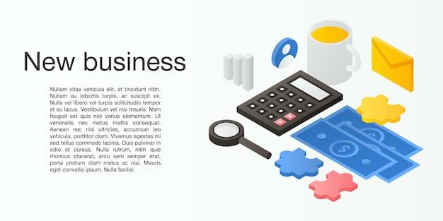 Banner de nuevo concepto de negocio, estilo isométrico Vector Premium