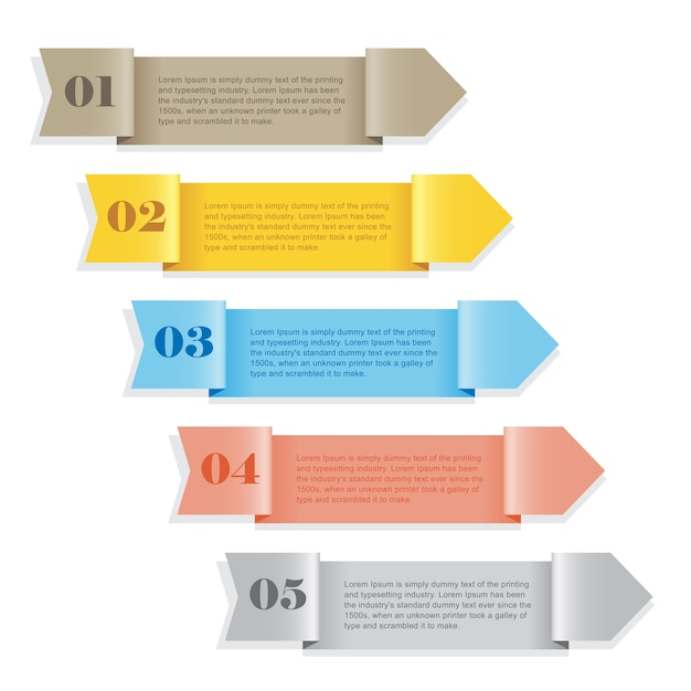 Banner numerado a todo color de plantilla moderna Vector Premium