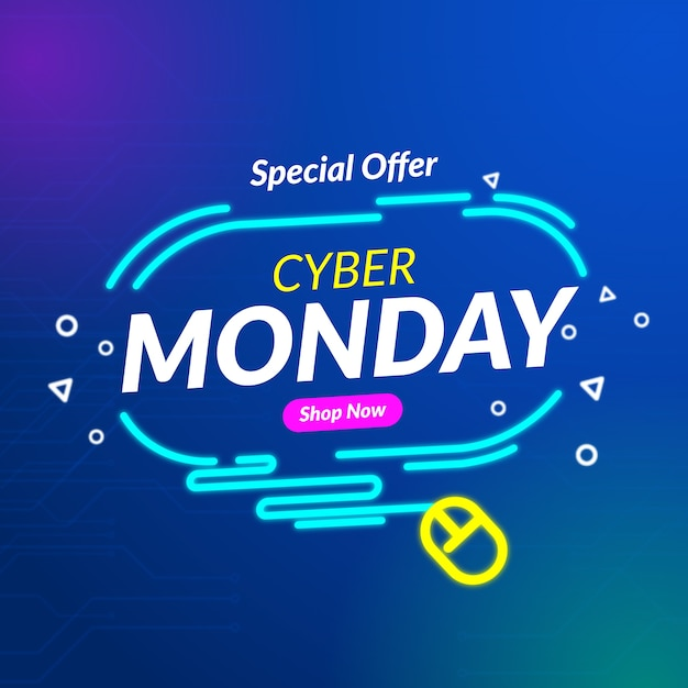 Banner de oferta especial de lunes cibernético de diseño plano vector gratuito