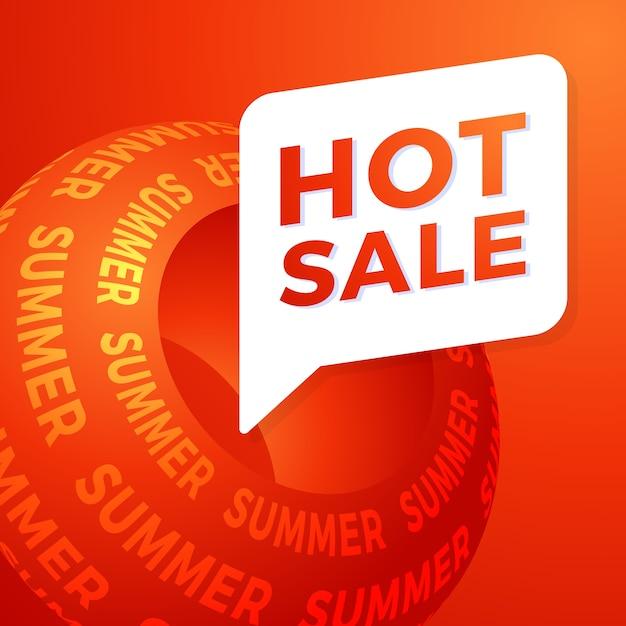 Banner de oferta especial de venta de verano caliente para negocios, promoción y publicidad. ilustración. Vector Premium