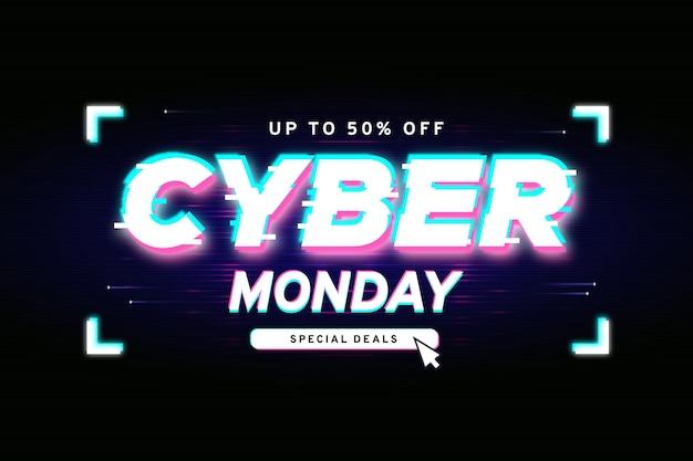 Banner de oferta de glitch cyber monday vector gratuito