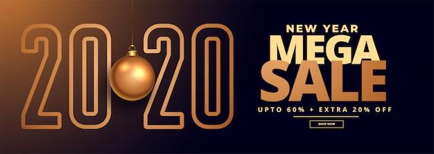 Banner de oferta y venta de año nuevo 2020 vector gratuito