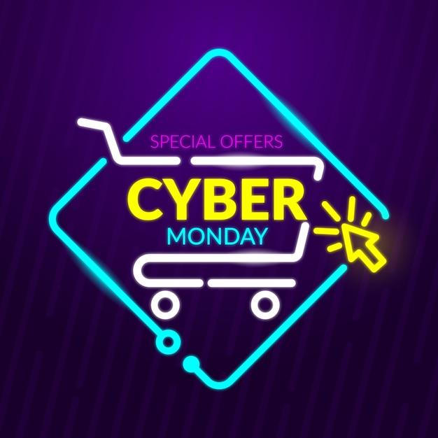 Banner de ofertas especiales de neon cyber monday vector gratuito