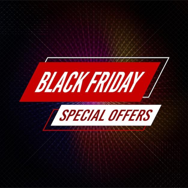Banner de ofertas especiales de viernes negro Vector Premium