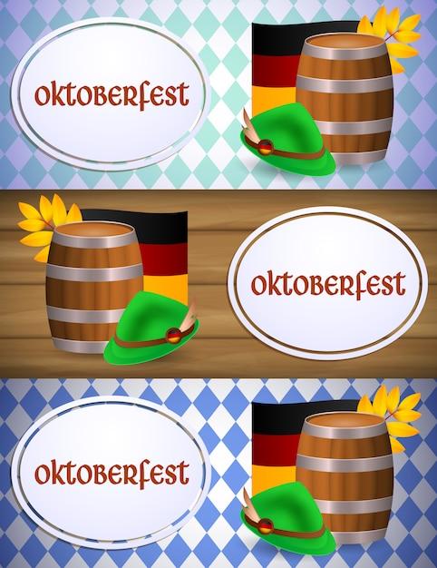 Banner de oktoberfest con barril de cerveza y bandera alemana vector gratuito
