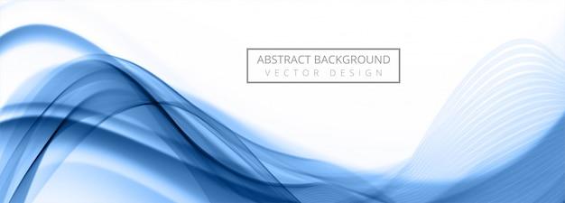 Banner de onda azul que fluye moderno sobre fondo blanco vector gratuito