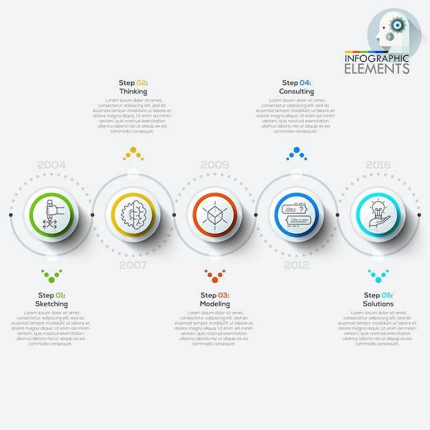 Banner de opciones de estilo de origami de círculo empresarial moderno Vector Premium