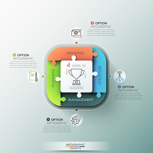 Banner de opciones de infografía moderna. Vector Premium