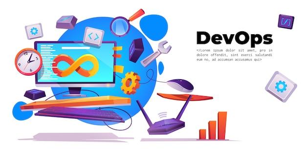 Banner de operaciones de desarrollo, concepto devops vector gratuito