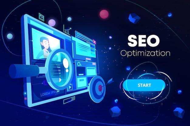 Banner de optimización de seo vector gratuito