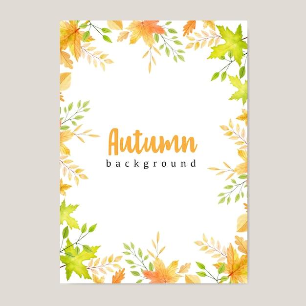 Banner de otoño con fondo colorido de hojas de otoño Vector Premium