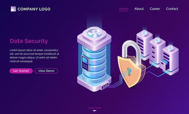 Banner de página de destino isométrica de seguridad de datos cibernéticos vector gratuito