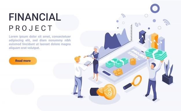 Banner de página de destino de proyecto financiero con ilustración isométrica Vector Premium