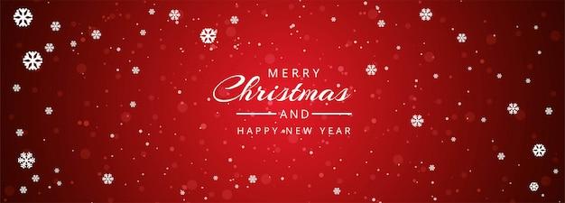 Banner de página web de navidad con copos de nieve decoraciones vector gratuito