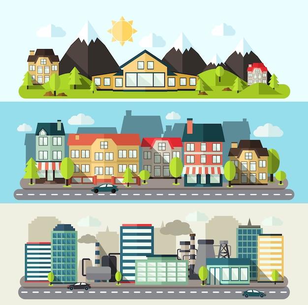 Banner de paisaje de ciudad plana vector gratuito