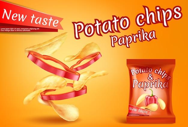 Banner con papas fritas realistas y rodajas de pimentón. vector gratuito