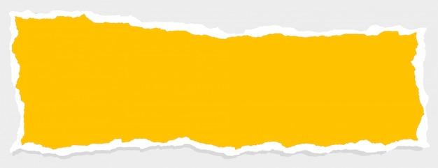 Banner de papel rasgado amarillo vacío con espacio de texto vector gratuito